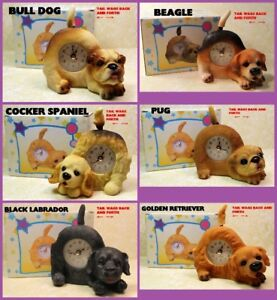 #M04 WAGGING TAIL TABLETOP PUPPY CLOCKS - NEW IN BOX ONLY $3 ea.