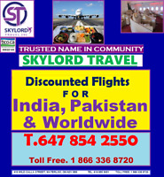 Cheap Flight Deals 4 India, Pakistan and anywhere. T. 4168559051