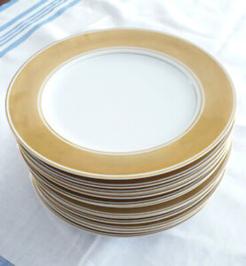 12 FITZ & FLOYD SERVICE PLATES (CHARGERS) GOLD RIMMED