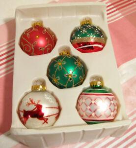 Ensemble de 5 boules de Noël en verre # N674