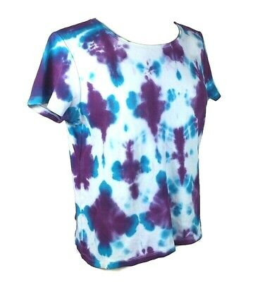 Men's 1920s Style Ties, Neck Ties & Bowties Custom hand tie dyed womens T shirt cropped size L  blue purple short sleeve $15.00 AT vintagedancer.com