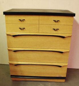 Kroehler Mid-Century Vintage Highboy Dresser, solid wood