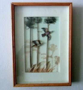 Pheasant Pair Feather Asian Art Framed