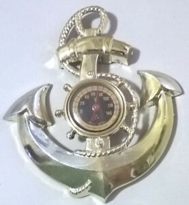 Vintage Three Star Brass Ship Wheel & Anchor Wall Thermometer