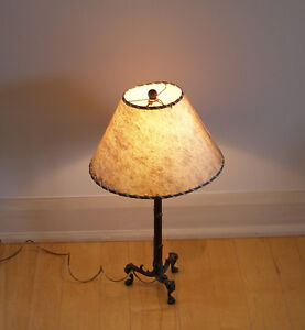 vintage Mexican solid metal, claw foot table lamp