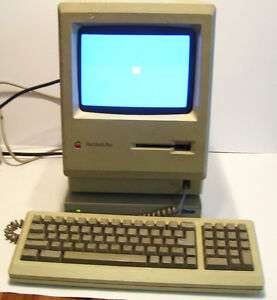 1986 Apple MacIntosh Plus Computer and Keyboard, External Hard D