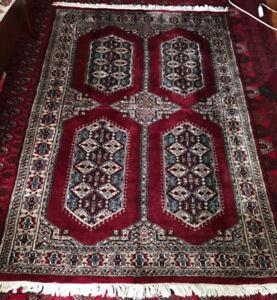 "Authentic Persian handmade of wool & silk rug  6` 1"" x 4` 1.5 """