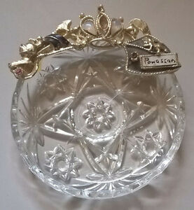 Vintage Ring/ Jewelry Glass Bowl/ Dish with Opal and Rhinestone
