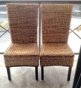 Set of Two High Back Banana Leaf Chairs