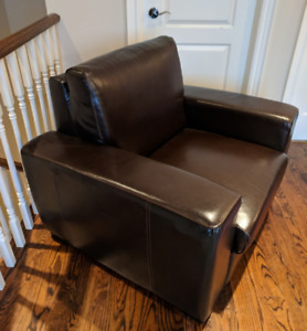 Leather chair & Microfiber couch, must go