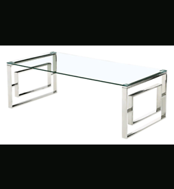 Brand New Silver Clear Glass Coffee Table