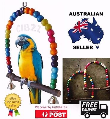 Birds Swing Toy Budgie Cockatiel Canary Wood Beads Bell Branch Fun Cage Activity