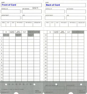 300 Time Cards For Upunch Hn2000 Hn4000 Hn4500 Hn6000 Hntc2 Compatible