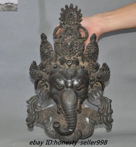 Tibet Temple Bronze Elephant Jambhala Ganesh God Buddha Head Wall Hanging Statue