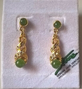 Storrs Genuine Jade Veritable Earrings Hypo-Allergenic Jade Drop