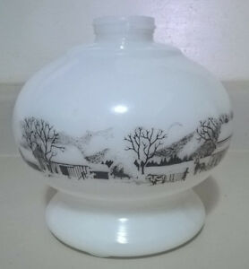Vintage Currier & Ives Milk Glass Hurricane Kerosene Lamp Base