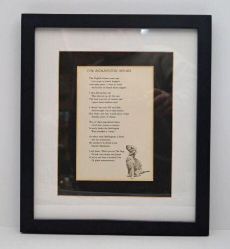 "BEDLINGTON TERRIER DOG POEM  ""THE BEDLINGTON SPEAKS""  MATTED & FRAMED"