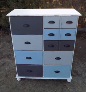 Pine 9 drawer dresser painted