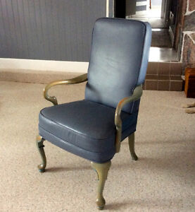 2 Custom made Handcrafted Blue Leather chairs