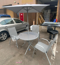 Outdoor Garden Table with 3 chairs and parasol only £95. Real Bargains