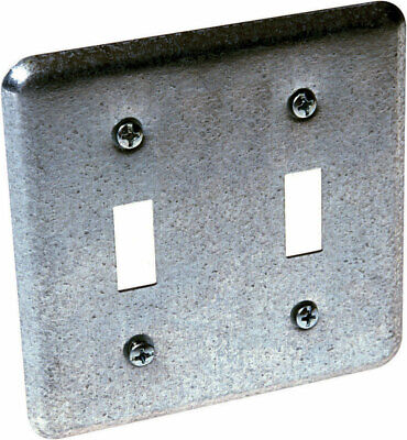 Raco  Square  Steel  2 Gang Box Cover  For 2 Toggle Switches