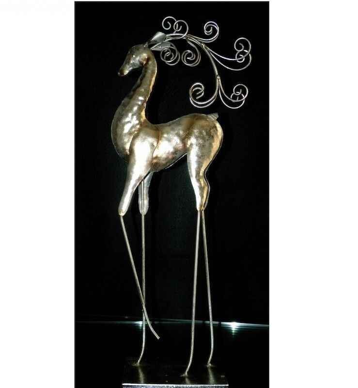 "Metallic Silver 24"" Tall Holiday Dancing Deer Decor"