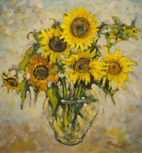 Sunflowers - oil painting by John Musial