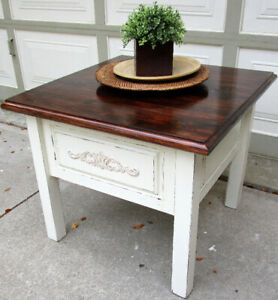 HANDCRAFTED SOLID WOOD SHABBY CHIC COFFEE TABLE - 1 OF AKIND