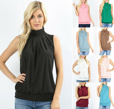 High Mock Neck Sleeveless Pleated Top Soft Knit Solid Office Work Shirt Blouse  Pleated Knit Top