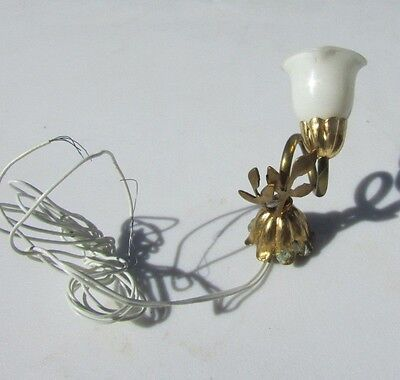 Miniature Brass Light Lamp Hanging Victorian Ornate Glass Leaf Vintage