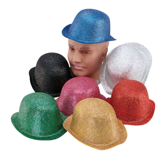 GLITTER BOWLER ALL COLOURS ADULT HAT FANCY DRESS