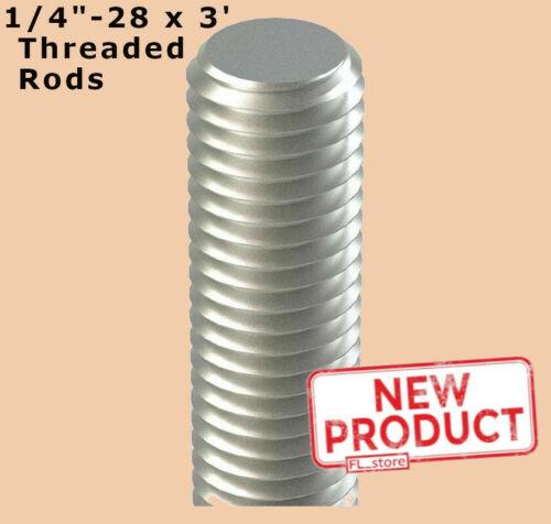 1/4-28 Inch x 3 Ft Length Fully All Threaded Rod 316 Stainless Steel Plain NEW