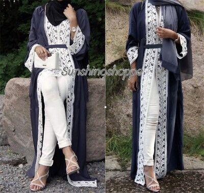 Muslim Popular Abaya Lace Kaftan Dress Dubai Wedding Abaya Long Sleeve Robe NEW