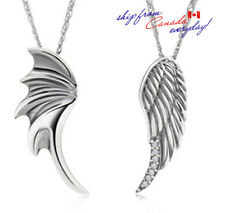 S925 Sterling Silver Feather Wing Heavy Solid Weighty Cubic Zirconia Pendants