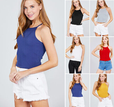 Solid Colors Basic High Neck Halter Tank Top Soft Cotton Knit Sleeveless -