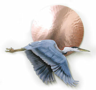 Small Flying Heron Bird w/ Large Copper Sun Metal Wall Sculpture by Bovano W407