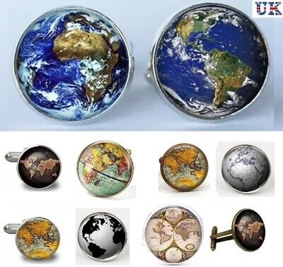 Vintage Globe World Map Cufflinks - Atlas Earth Planet Cuff Links Gift - UK