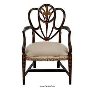 EJ-VICTOR-Hand-Painted-Heartback-Antique-Black-Hepplewhite-Distressed-Arm-Chair