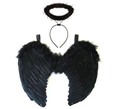 Black Feather Angel Wings w/ Halo Fancy Dress Costume Fairy Adults Halloween USA](Angel Wings Costumes)