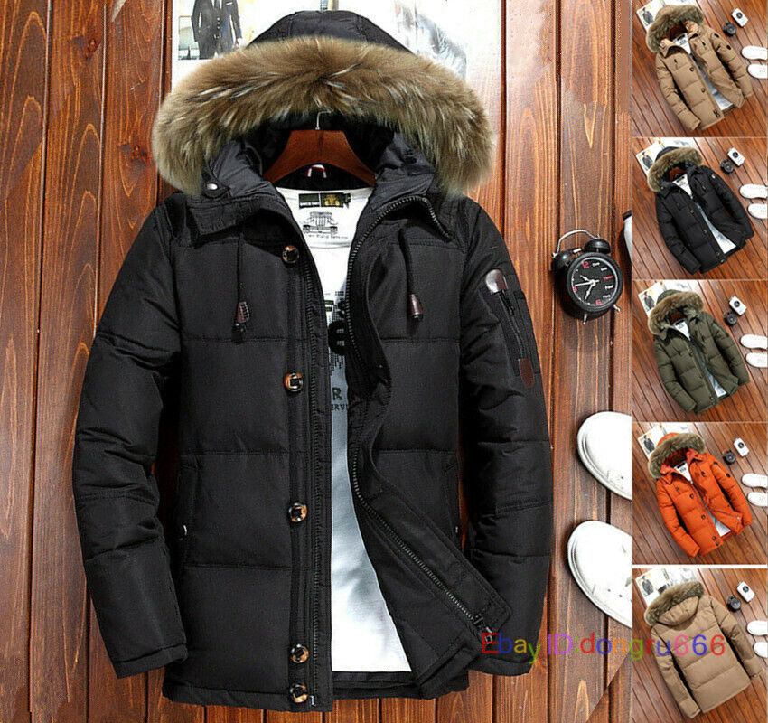 Men/'s Warm Duck Down Jacket Fur Collar Thick Winter Coat Outwear Hooded Parka