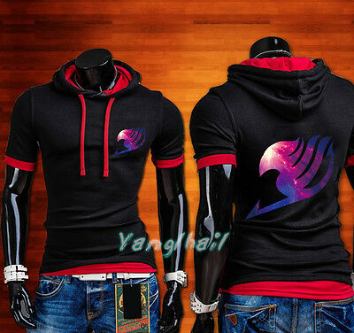 New Anime Fairy Tail Galaxy Casual Short Sleeve T-Shirt Male Hoodie Tops - Anime Male Clothes