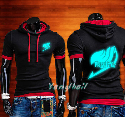 Anime Luminous Fairy Tail Casual Short Sleeve T-Shirt Male Hoodie Tops - Anime Male Clothes