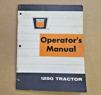 Operators Manual For Oliver 1250 Tractor