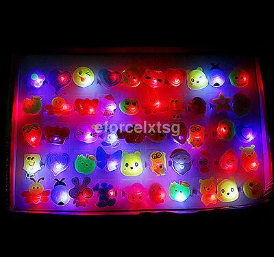 Fun 10pcs/lot Cute Kids LED Lights Up Flashing Finger Rings Atmosphere Lights US