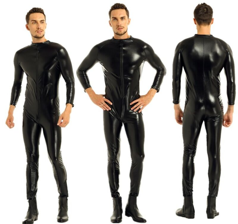 Men/'s Wet Look Bodysuit Jumpsuit Underwear Zipper Boxer Briefs Leotard Catsuit