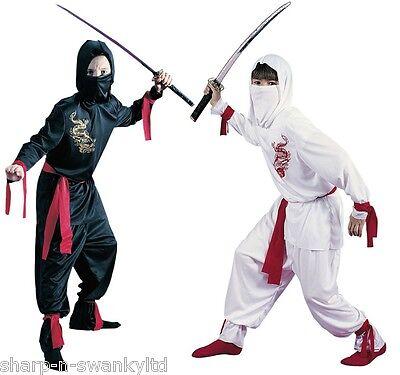 Boys Black or White Ninja Book Day Halloween Japanese Fancy Dress Costume - White Ninja Halloween Costume