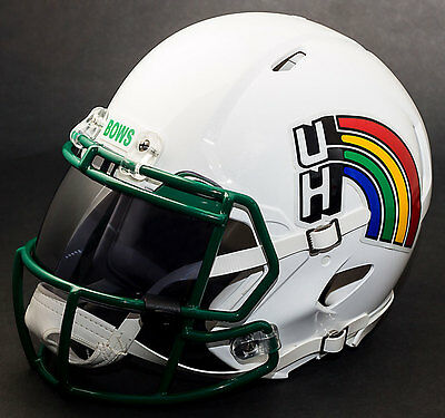 (*CUSTOM* HAWAII RAINBOW WARRIORS Riddell SPEED Full Size Replica Football Helmet)
