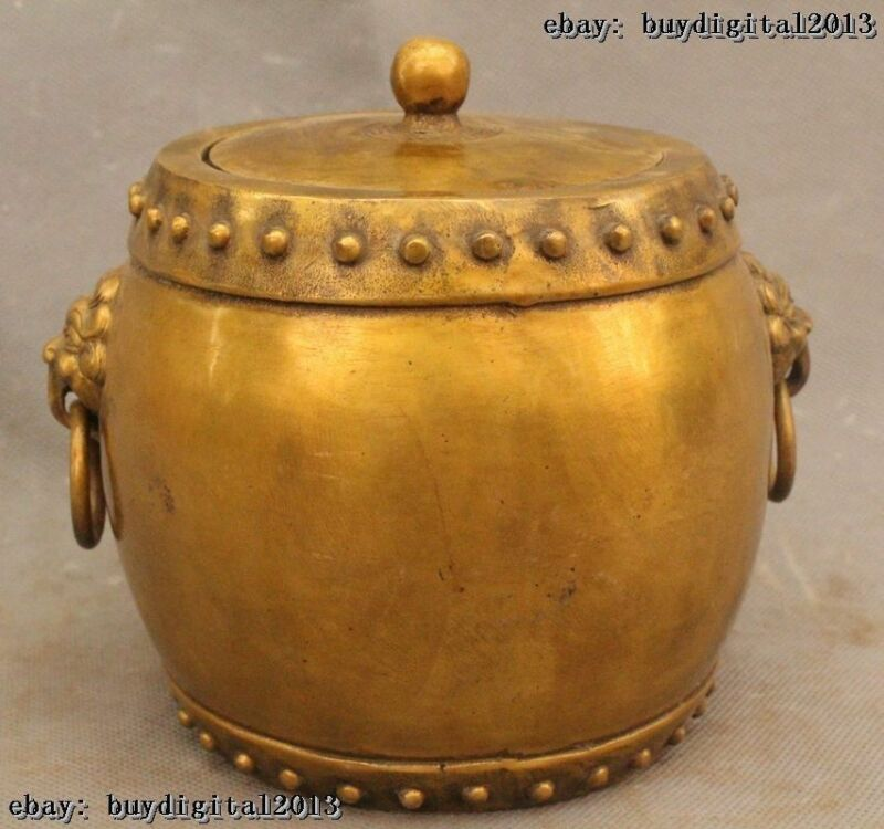 "6""Chinese Tibet Feng Shui Bronze Lion Drum Pot Incense Burner Censer Statue"