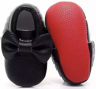 magasin en ligne 8bf4a 11aa3 3-6 mois enfant Noir Chaussures Mocassins avec semelle rouge ...
