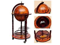 Wooden Wine Rack Drinks Storage Cabinet Vintage Bar Globe Map Antique Container